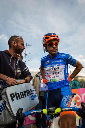 strenuous: Sant Anna, Italy May 28, 2016; Damiano Cunego, Team Nippo Vini Fantini, in blue jersey exhausted ends His internship but after the strenuous climb loses the top spot of the mountains classification.