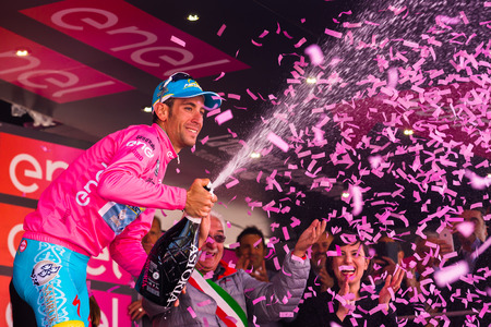 internships: Sant Anna, Italy May 28, 2016; Vincenzo Nibali, Astana team in the pink jersey on the podium after winning the general classification in the Tour of Italy in 2016. Editorial