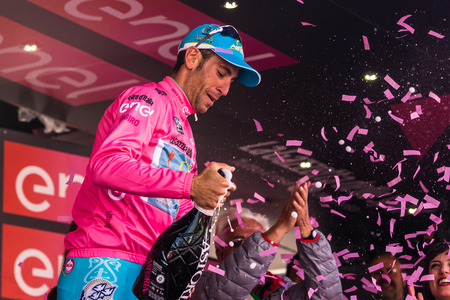 Sant Anna, Italy May 28, 2016; Vincenzo Nibali, Astana team in the pink jersey on the podium after winning the general classification in the Tour of Italy in 2016. Editorial