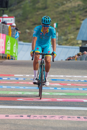 Sant Anna, Italy May 28, 2016; Professional Cyclist exhausted passes the finish line after a hard mountain stage with a uphill finish in Sant Anna di Vinadio.
