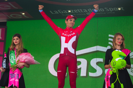 rein: Sant Anna, Italy May 28, 2016; Rein Taaram�e, Katusha team on the podium after winning a hard mountain stage with a uphill finish in Sant Anna di Vinadio.