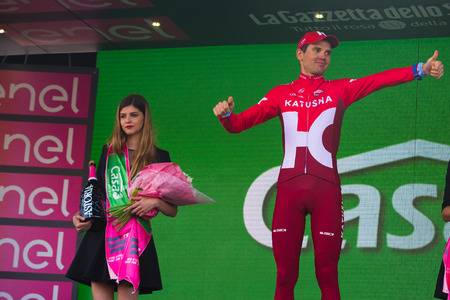 internships: Sant Anna, Italy May 28, 2016; Rein Taaram�e, Katusha team on the podium after winning a hard mountain stage with a uphill finish in Sant Anna di Vinadio.