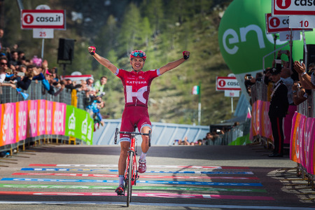 rein: Sant Anna, Italy May 28, 2016; Rein Taaram�e, Katusha team, exhausted passes the finish line and Win a hard mountain stage with a uphill finish in Sant Anna di Vinadio.