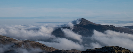 inversion: Looking above the clouds from near the summit of Beinn Ime in winter.