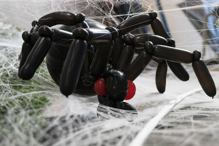 clinging: Creepy, black, balloon spider staring out from its twisted web in part of a Halloween decoration.