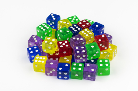 A large stack of colorful, translucent dice