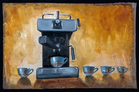 Modern coffee machine with cups painted on canvas with oil paints photo