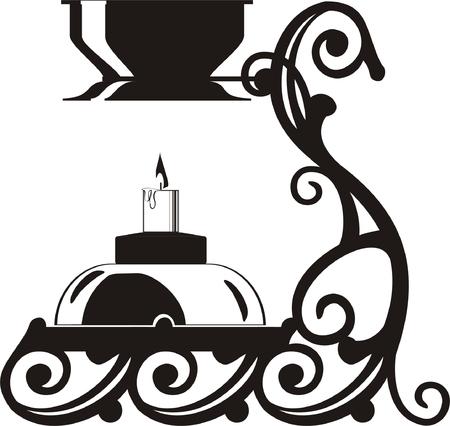 Pharmacy tools set in black vector illustration Vector