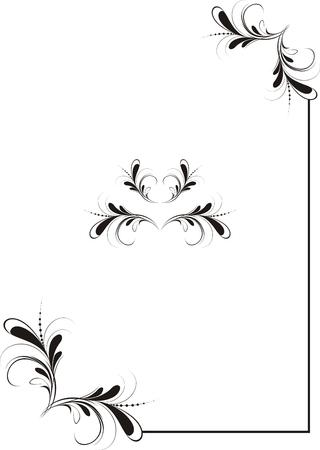 corner frame: Vector illustration black abstract ornament  of corner frame