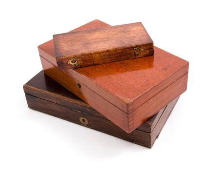 This is antique Wood Box Isolated on white Stock Photo - 3371083