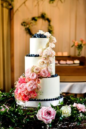 White Wedding Cake with roses interior background Stock Photo