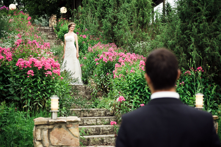 Wonderful bride standing up the stairs among the pink flowers, her groom waiting for her downstairs. The first meeting of the bride and groom