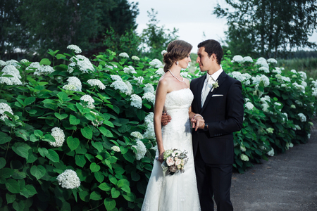 Groom and a bride cuddling romantically, white flowers bushes behind them