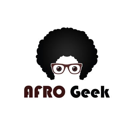 Geek avec cheveux afro et lunettes Vecteurs