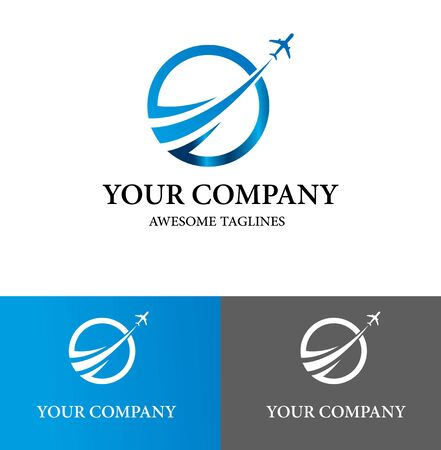 Szablon projektu Logo biznes samolot. Projekt płaski. Ilustracja wektorowa