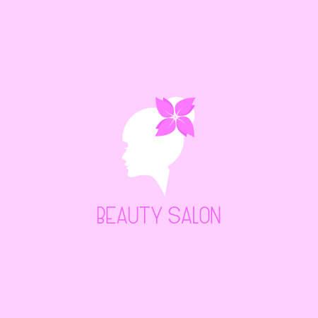Beauty Salon Floral flower face Logo Design Symbol Template Flat Style Vector
