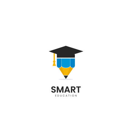 Education logo design template, pencil and graduation cap icon stylized