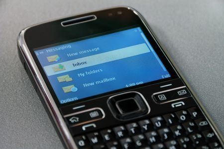 texting: Messaging menu on a business mobile phone