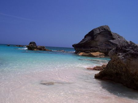 Bermudas Horseshoe Bay offers a breathtaking view of a popular tourist attraction. Stock Photo