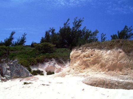 A serene blue stream flows through the rocky Bermuda landscape.