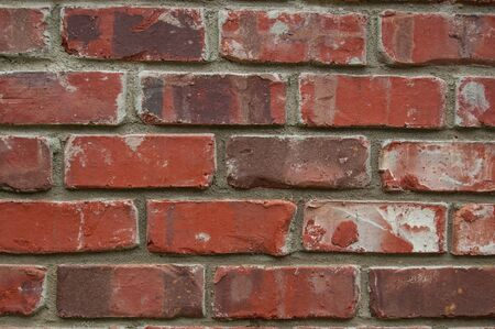 Background of a red brick wall. Industrial background made of dirty brickwork with a grunge texture.