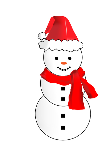 Cartoon Snowman wearing a Red Scarf. Snow man illustration with coal eyes and buttons with a Santa Hat. Isolated on a white background. Vector image. Stock Photo