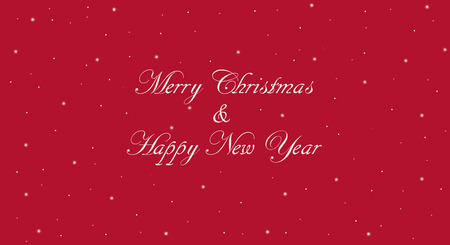 Vintage Merry Christmas banner with red background. Happy New Year message in white calligraphic lettering with snowflakes.