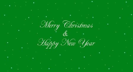 Vintage Merry Christmas banner with green background. Happy New Year message in white calligraphic lettering with snowflakes.