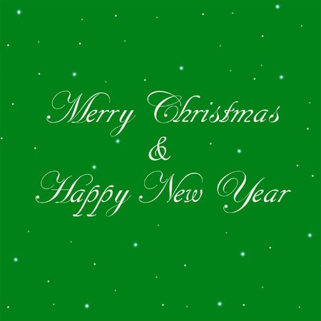 Merry Christmas message . Square Happy New Year illustration with green background, white calligraphic lettering and snowflakes. Stock Photo