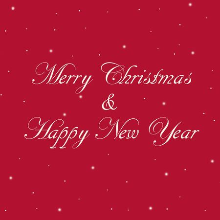 Merry Christmas message. Square Happy New Year illustration with red background, white calligraphic lettering and snowflakes.