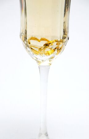 dring: Heart Rings in Champagne Glass Stock Photo