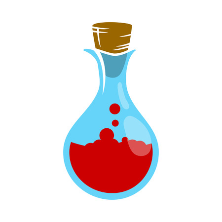 poison symbol: Icon red potions in a glass flask