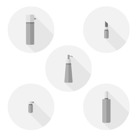 pomade: Set of Cosmetic bottle flat icons - stock vector