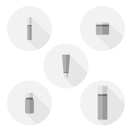 cosmetic bottle: Set of Cosmetic bottle flat icons - stock vector