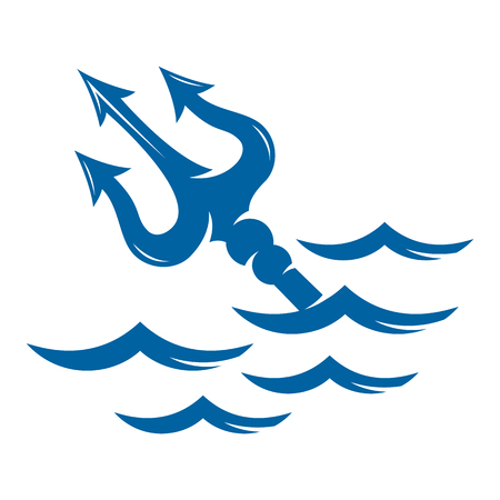 Trident on the waves vector logo - stock vector Illustration