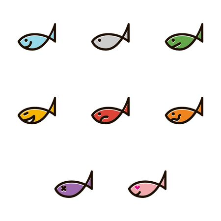 fishy: Line icons set with flat design elements of fish smiley - stock vector