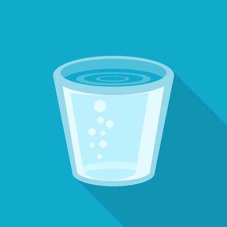 glass water: Flat design illustration of glass of water. Glass of water icon. Isolated on stylish color background. Flat long shadow icon. Elements in flat design