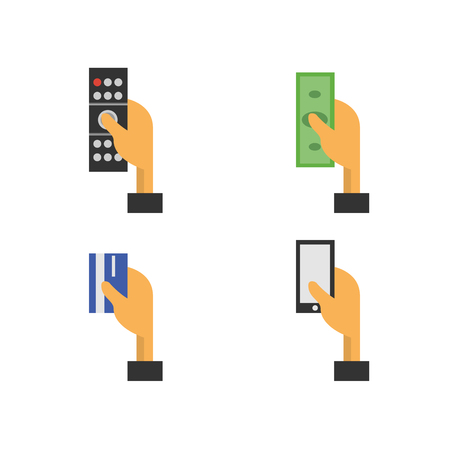 shopper: Set of hand with a telephone, hand with money, hand with a remote control, hand with a credit card. Flat design concept. Flat icons design. Illustration on a white background - stock vector Illustration