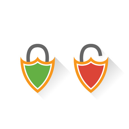 closed lock: Lock icon in flat style. Lock open. Lock closed. Lock in the shape of a shield