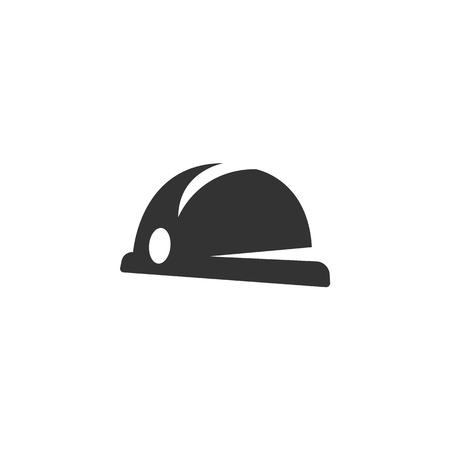 hard hat icon: Hard hat icon on white background. Hard hat vector logo. Flat design style. Modern vector pictogram for web graphics. - stock vector Illustration