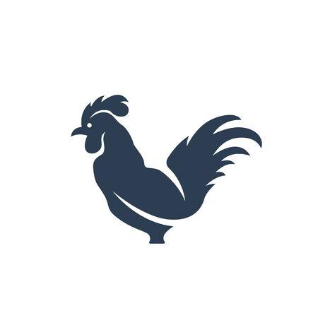 animal cock: Gallo su sfondo bianco. modello di cazzo. stile di design piatto. Illustrazione - Stock Vector