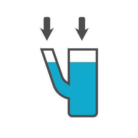 balanza de laboratorio: vasos comunicantes icono en el fondo blanco. estilo de dise�o plano. pictograma Vector moderno de gr�ficos para la web. - Vector stock Vectores