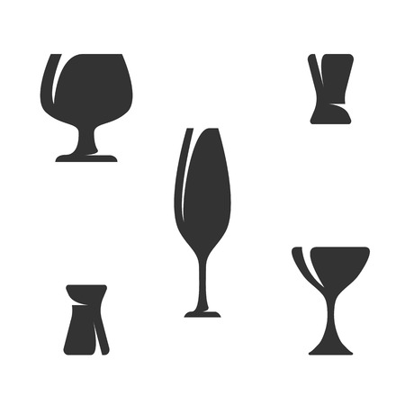 dinnerware: Dinnerware isolated on white background, Vector icons Illustrations of glass, goblet and wineglass - stock vector Illustration