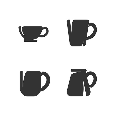 dinnerware: Dinnerware isolated on white background, Vector icons Illustrations of cups and mugs - stock vector