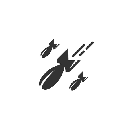 bombing: Bomb icon isolated on white background. Bomb vector . Flat design style. Modern vector pictogram for web graphics. - stock vector