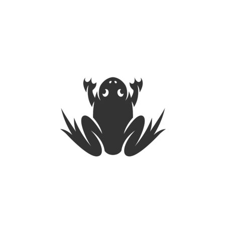 croaking: Frog logo silhouette design template isolated on a white background. Simple concept icon for web, mobile and infographics. Abstract symbol, sign, pictogram, illustration - stock vector