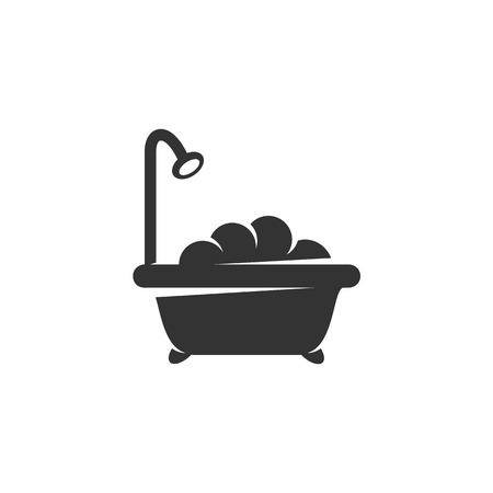 showering: Shower icon isolated on white background - stock vector