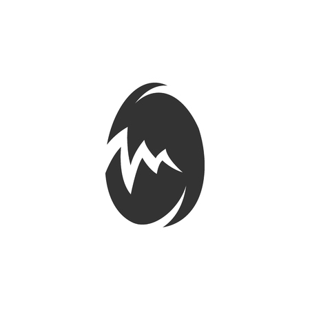 testicle: Broken egg Icon isolated on a white background.