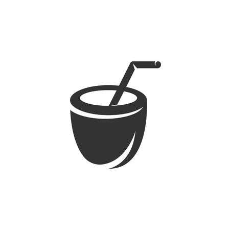 coconut drink: Coconut Drink Icon isolated on a white background. Illustration