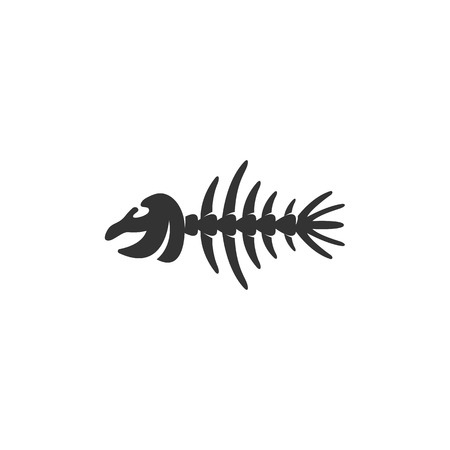 illustration of black fishbone: Fish bone Icon isolated on a white background.